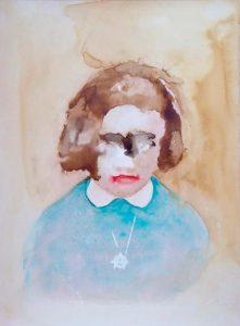 Visage d'enfant à l'aquarelle