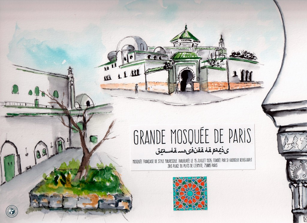 Croquis de la grande Mosquée de Paris