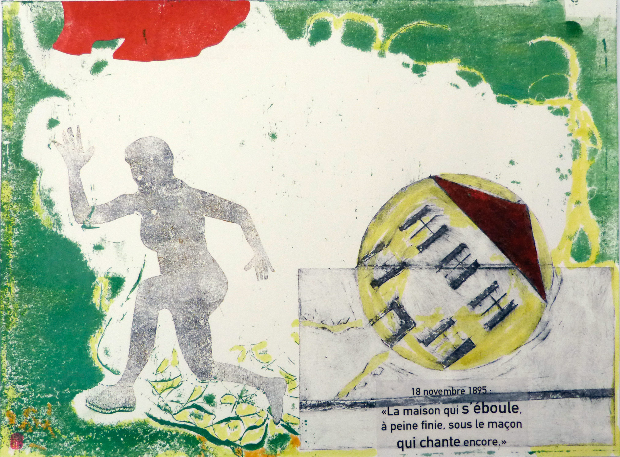 Monotype et collage sur des pages de carnets d'une maison qui roule et d'une femme qui court