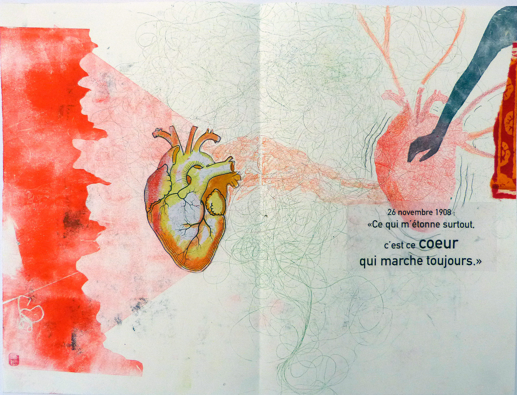 Coeur qui bat et main tendu. Monotype et collage sur carnet.