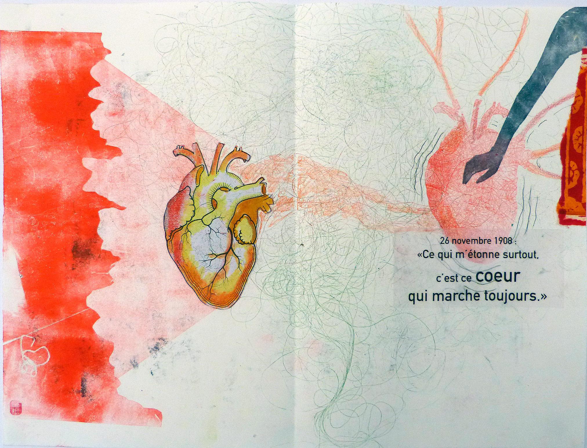 Monotype et collage d'un coeur et du main. Carnet de dessin.