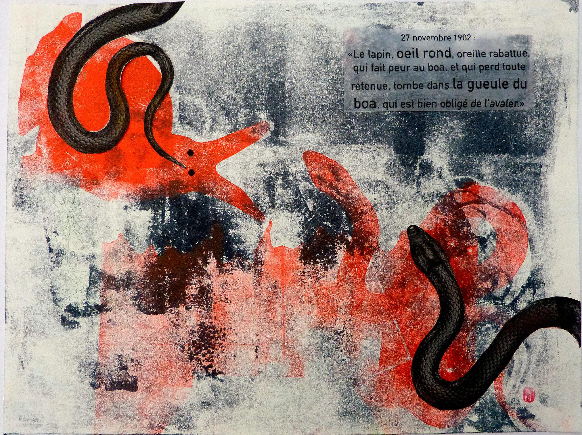 Monotype et collage sur pages de carnet représentant un lapin et un boa