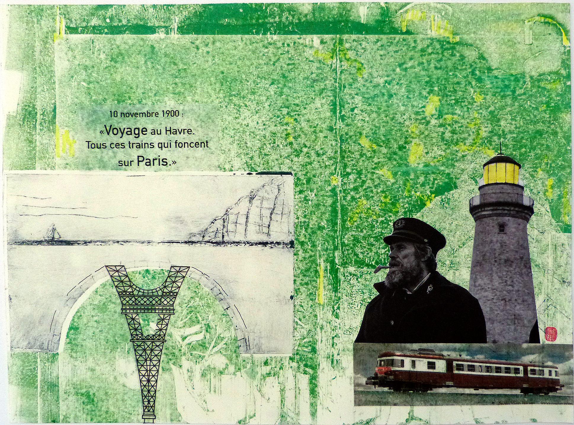 Monotype et collage représentant la tour Efel et le Havre.