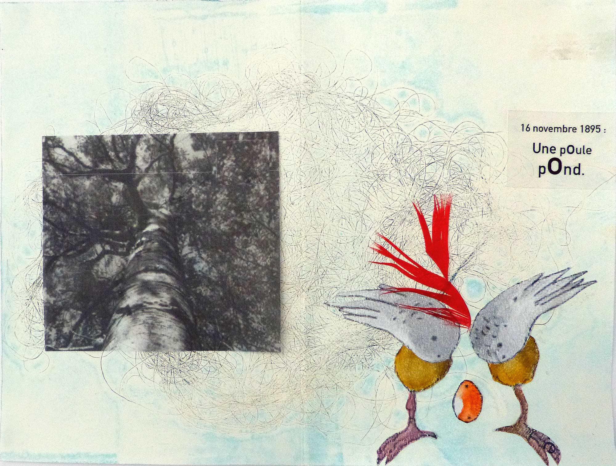 Monotype et collage d'une poule qui pond.